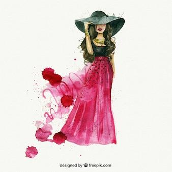 Mujer de moda de acuarela