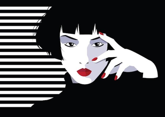 Mujer de moda asiática en estilo pop art.