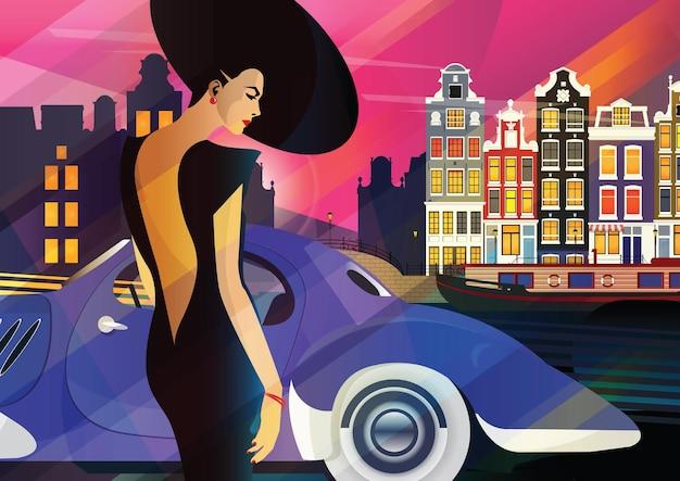 Mujer de moda en estilo pop art en amsterdam. ilustracion de moda