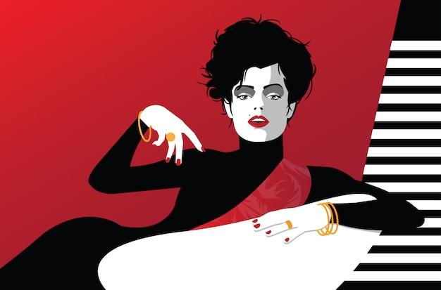 Mujer de moda en estilo pop art. ilustración vectorial
