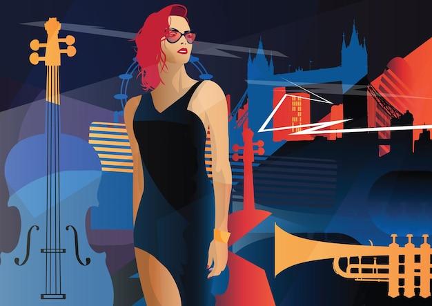 Mujer de moda en estilo pop art en londres. ilustracion de moda