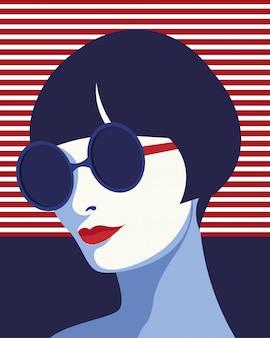 Mujer de moda con gafas de sol. retrato de arte. diseño plano.