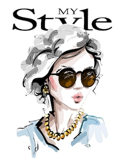 Mujer de moda en gafas de sol.