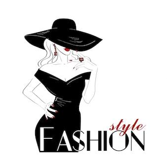 Mujer de moda en gran sombrero con labios rojos