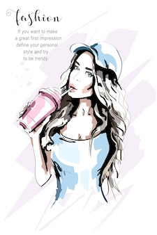 Mujer de moda en la ilustración de la tapa