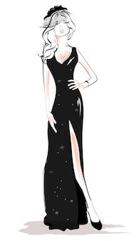 Mujer de moda en la ilustración de vestido negro
