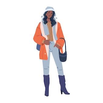 Mujer moda paño cálido invierno vogue colección aislado plano personaje de dibujos animados vector vogue
