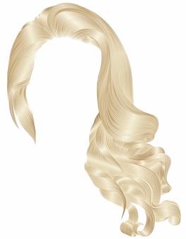 Mujer moda pelo largo y rizado morena peluca rubia colores marrón. 3d realista.