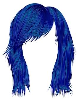 Mujer de moda pelos de color azul oscuro. longitud media .. 3d realista.