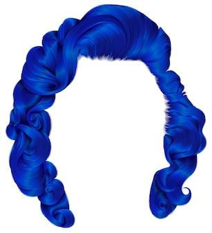 Mujer de moda pelos colores azul oscuro. rizos de estilo retro. 3d realista.