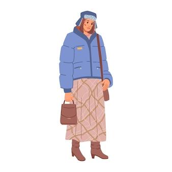 Mujer modelo de gran tamaño en chaqueta azul sombrero y falda marrón larga vector moda dama botas de cuero y