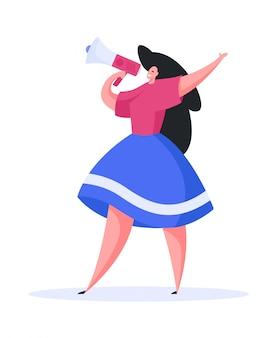 Mujer moderna con megáfono haciendo anuncio. ilustración plana