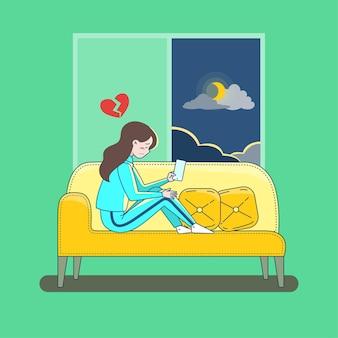 Mujer molesta con corazón roto mantenga smartphone sentado en la ilustración plana de vector de sofá. mujer con el corazón roto tiene un problema en la relación sintiéndose herida aislada.