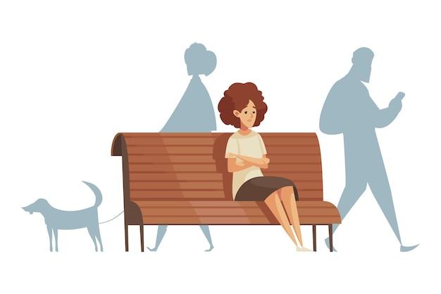 Mujer molesta de dibujos animados sentada sola en un banco