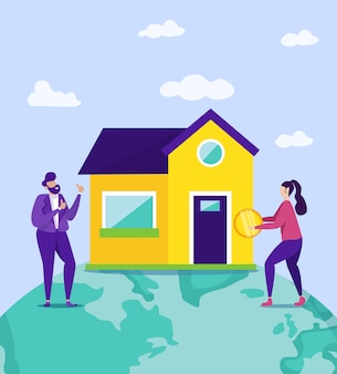 Mujer con moneda y hombre cerca de casa nueva. .