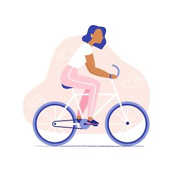 Mujer montando bicicleta. bicicleta sana del montar a caballo de la mujer, vista lateral, aislada. ilustración de vector plano con estilo