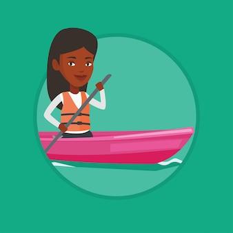 Mujer montando en kayak.