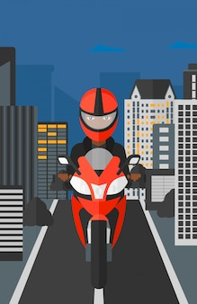 Mujer montando motocicleta.