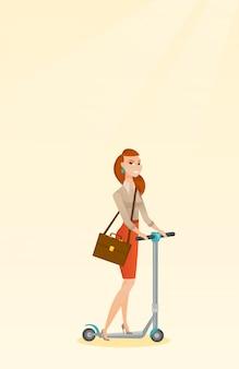 Mujer montando patada scooter