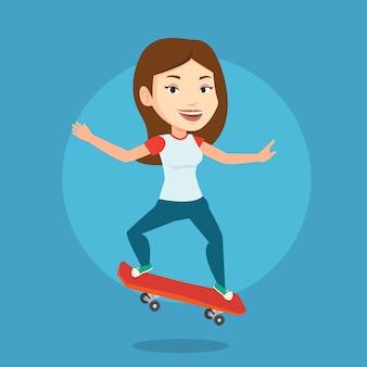 Mujer montando patineta ilustración vectorial.