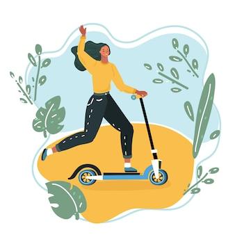 Mujer montando un patinete.