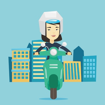 Mujer montando scooter en la ciudad.