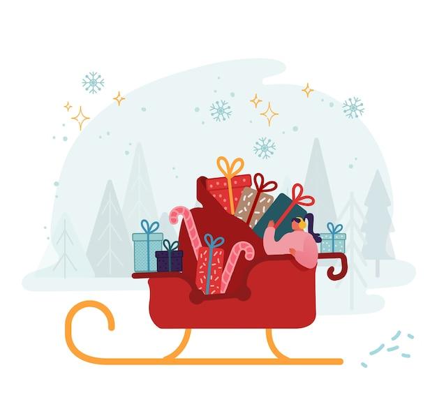 Mujer montando en trineo de santa claus con enorme saco lleno de regalos y dulces. celebración de las fiestas de invierno, nochebuena y saludos de año nuevo. plano de dibujos animados divertidos de invierno