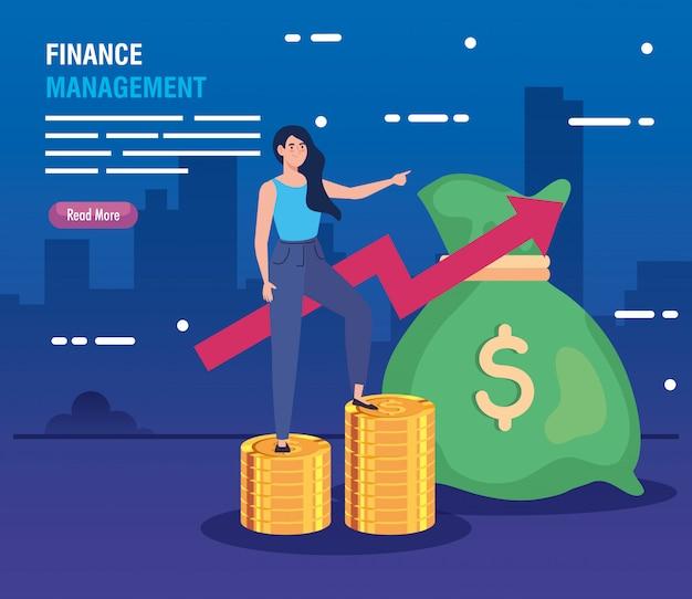 Mujer en montones de monedas con flecha hacia arriba y bolsa de dinero