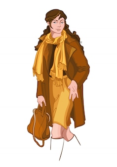 Mujer morena joven vestida con ropa de otoño amarillo y marrón