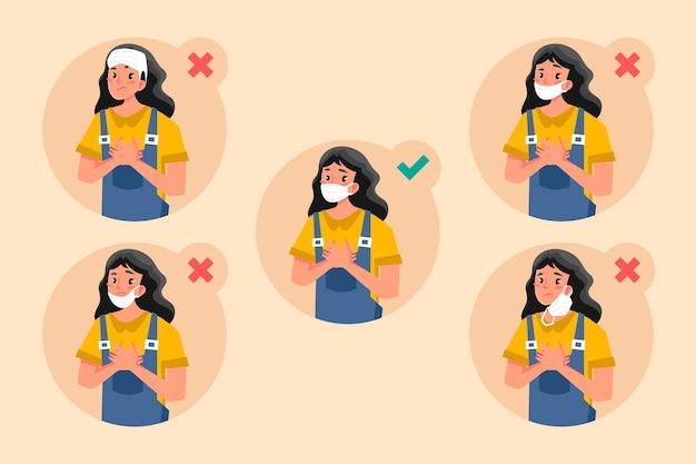 Mujer mostrando formas correctas e incorrectas de usar una mascarilla