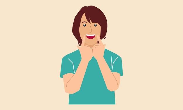 Mujer mostrando su sonrisa señalando con el dedo a la boca