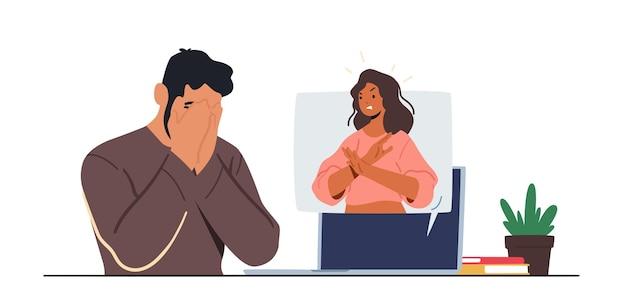 Mujer mostrar gesto de parada desde el monitor de la pc