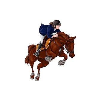 Mujer, muchacha que monta el ejemplo del vector de los caballos, aislado.