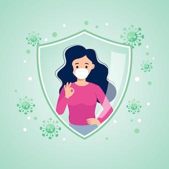 La mujer muestra el gesto de la mano bien protegido del concepto de vacunación del virus corona diseño vectorial plano