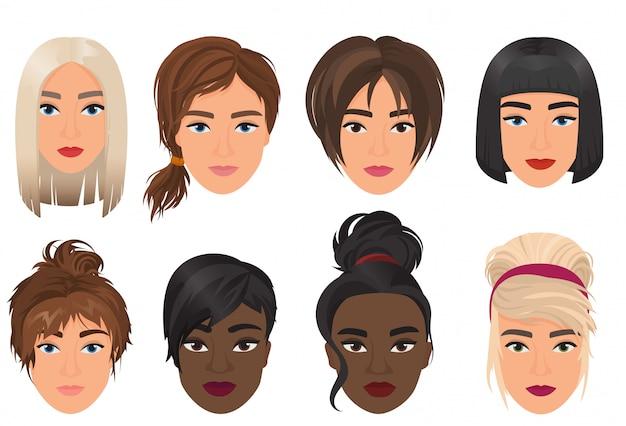 Mujer mujer avatar conjunto ilustración. retrato multiétnico de hermosas chicas jóvenes con peinado diferente.