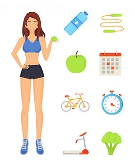 Mujer mujer deportiva y elementos deportivos.