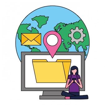 Mujer con mundo móvil ubicación de archivos redes sociales