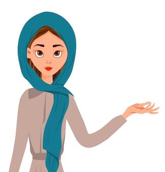 Mujer musulmana en una bufanda, burka
