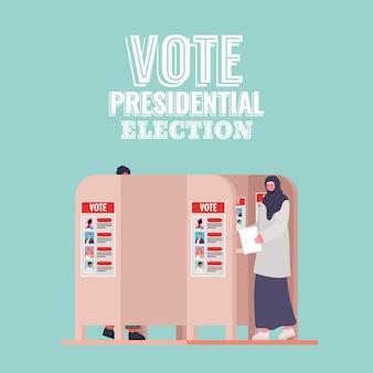 Mujer musulmana en la cabina de votación con diseño de texto de elección presidencial de voto, tema del día de las elecciones.