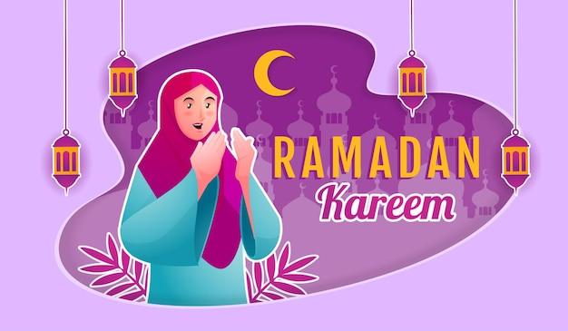 Mujer musulmana dando la bienvenida a ramadán kareem