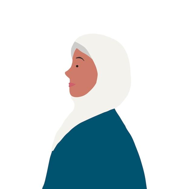 Mujer musulmana fuerte en vector de perfil