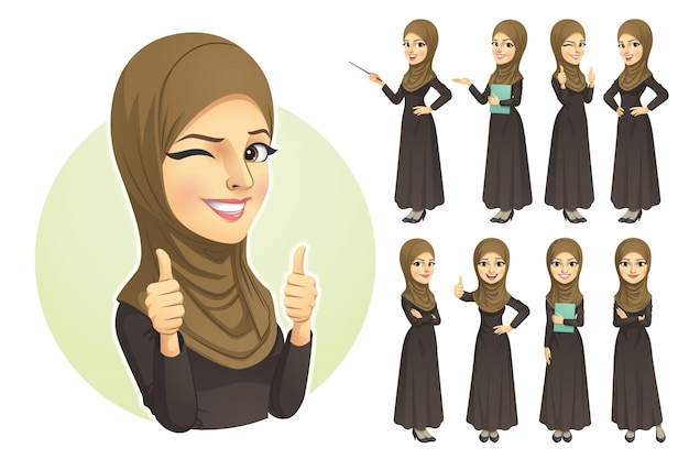 Mujer musulmana con juego de caracteres hijab