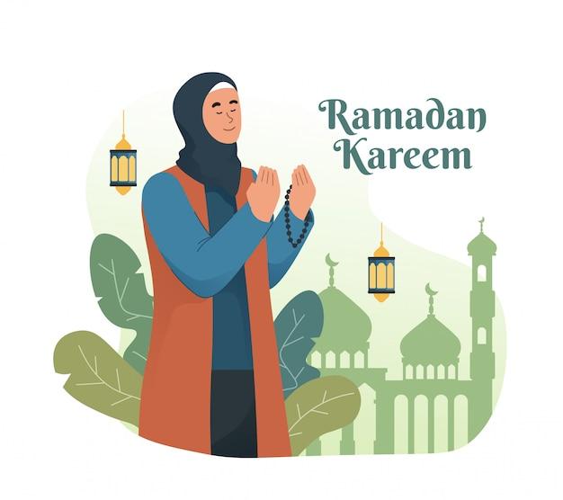 Mujer musulmana rezando mientras sostiene rosarios. ilustración de personaje de dibujos animados plano de ramadán kareem