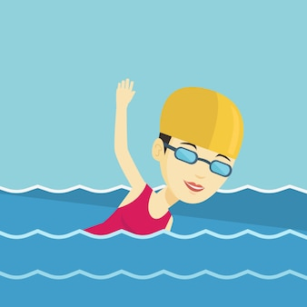 Mujer nadando ilustración vectorial.