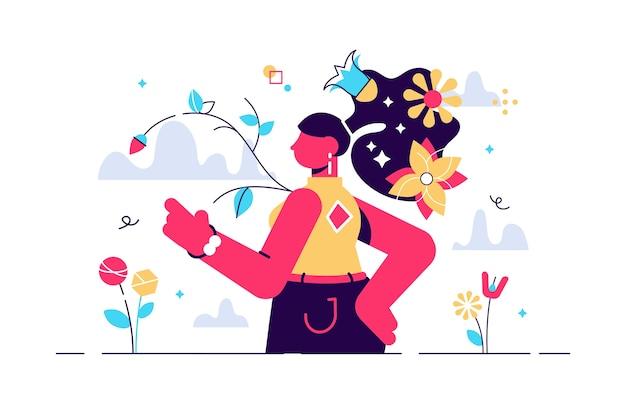 Mujer, en, naturaleza, ilustración