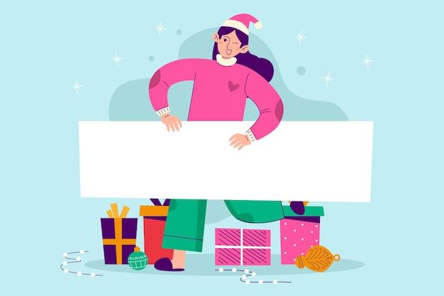 Mujer de navidad sosteniendo pancarta en blanco