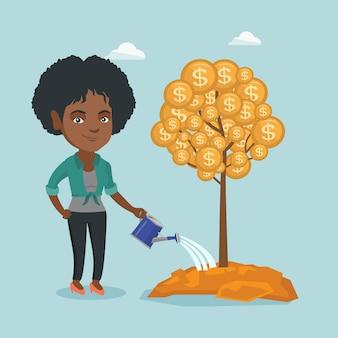 Mujer de negocios africanos que riega el árbol del dinero.