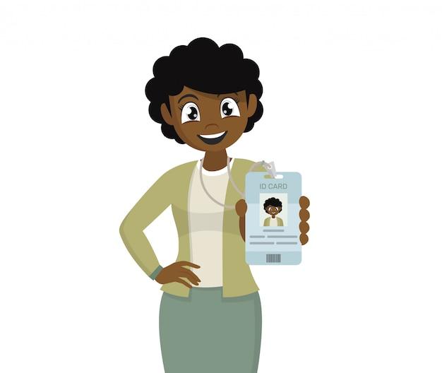 Mujer de negocios africanos su tarjeta de identificación de etiqueta.