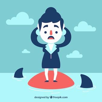 Mujer de negocios en apuros