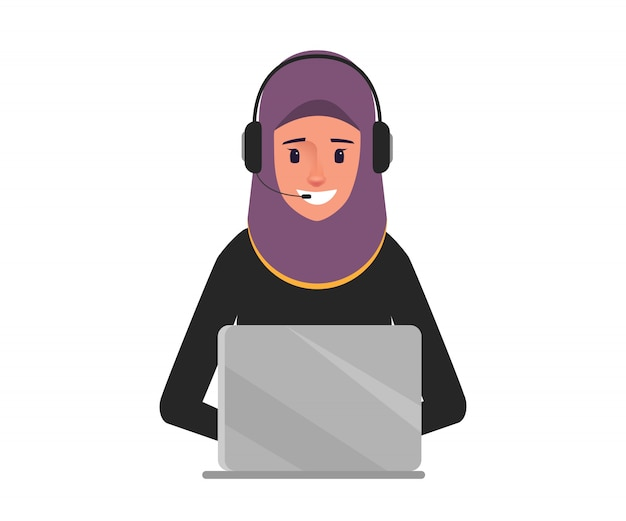 Mujer de negocios árabe en carácter de centro de llamadas.